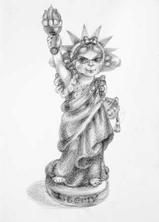 Liberty,  Pencil and graphite on paper 33 x 23.5 cm